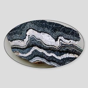 Folded strata in gneiss rock Sticker (Oval)
