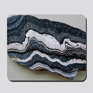 Folded strata in gneiss rock Mousepad