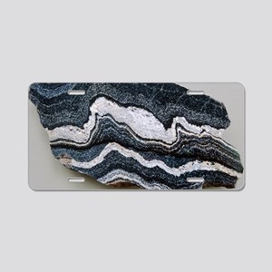 Folded strata in gneiss roc Aluminum License Plate