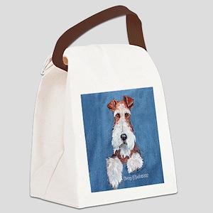 Wire Fox Terrier Portrait Canvas Lunch Bag