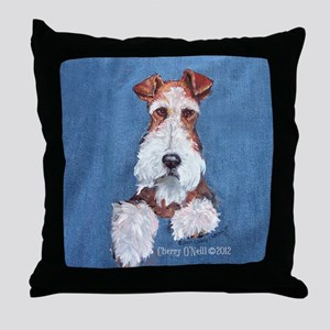 Wire Fox Terrier Portrait Throw Pillow