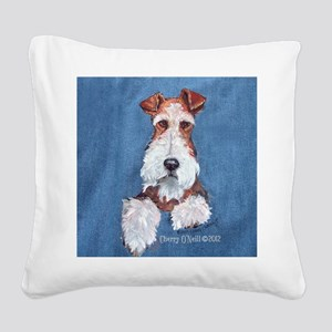 Wire Fox Terrier Portrait Square Canvas Pillow