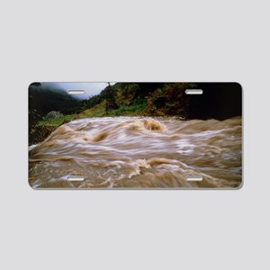Flooded stream pouring down Aluminum License Plate