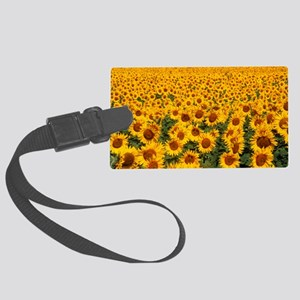 Field of sunflowers, France Large Luggage Tag