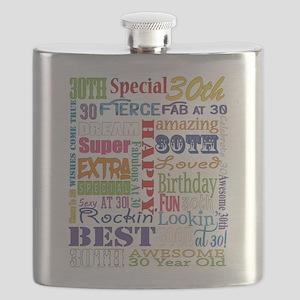30th Birthday Typography Flask