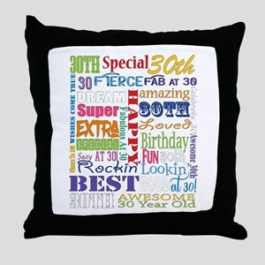 30th Birthday Typography Throw Pillow