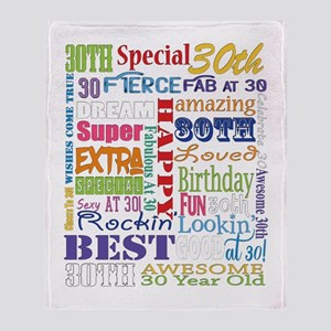 30th Birthday Typography Throw Blanket