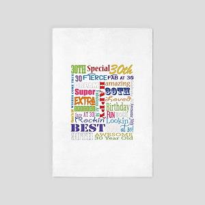 30th Birthday Typography 4' x 6' Rug