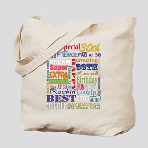 30th Birthday Typography Tote Bag