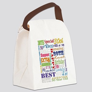 30th Birthday Typography Canvas Lunch Bag