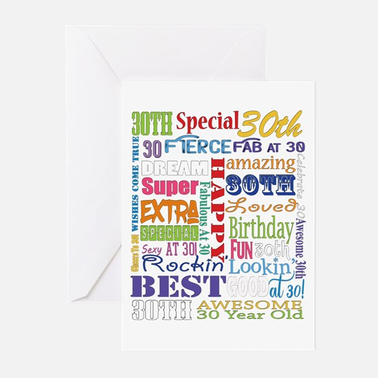 30th Birthday Typography Greeting Cards (Pk of 10)