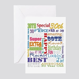 30th Birthday Typography Greeting Cards (Pk of 20)