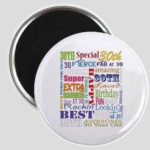 30th Birthday Typography Magnet