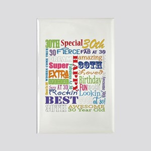 30th Birthday Typography Rectangle Magnet