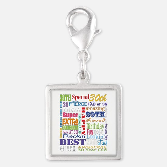 30th Birthday Typography Silver Square Charm