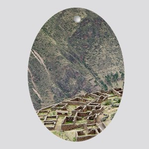 Inca ruins, Pisac, Peru Oval Ornament