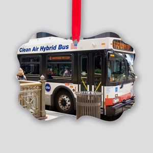 Hybrid bus in Chicago Picture Ornament