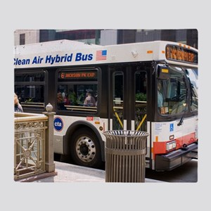 Hybrid bus in Chicago Throw Blanket