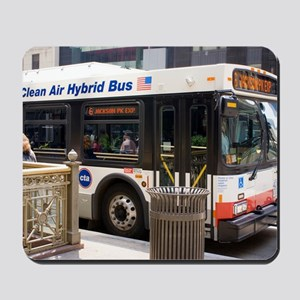 Hybrid bus in Chicago Mousepad