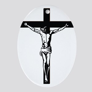 Jesus on the Cross Oval Ornament