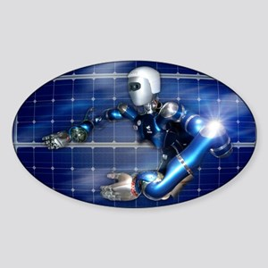 Humanoid robot, artwork Sticker (Oval)
