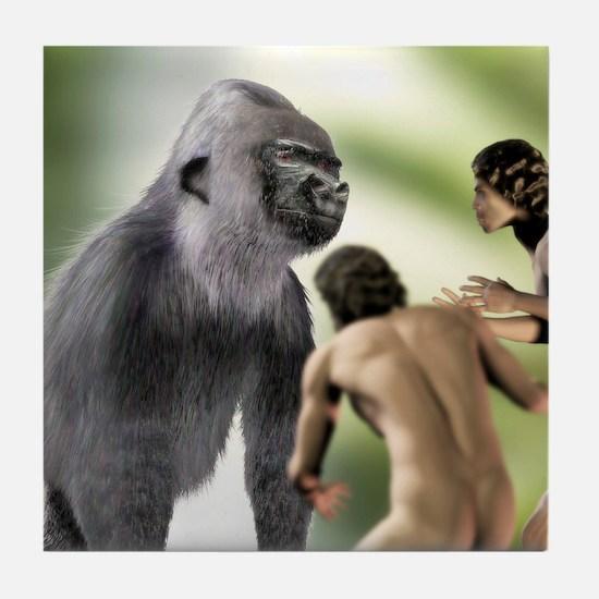 Extinct giant gorilla Tile Coaster