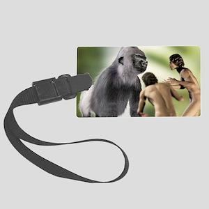 Extinct giant gorilla Large Luggage Tag
