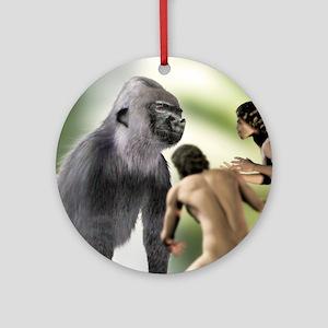 Extinct giant gorilla Round Ornament