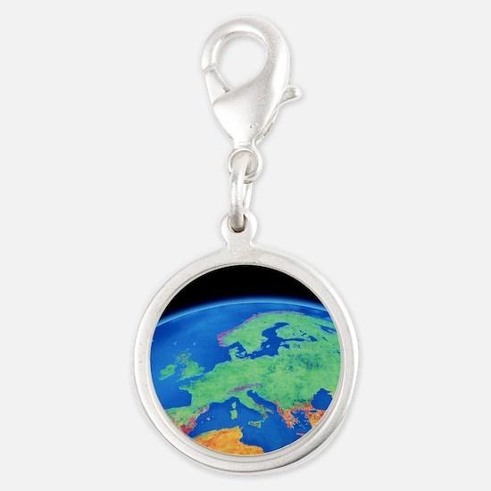 Europe Silver Round Charm