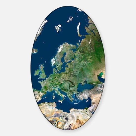 Europe, satellite image Sticker (Oval)