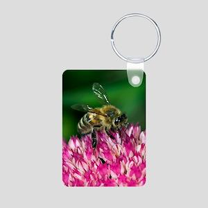 Honey bee feeding on Sedum Aluminum Photo Keychain