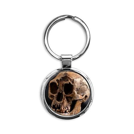 Homo floresiensis skull Round Keychain