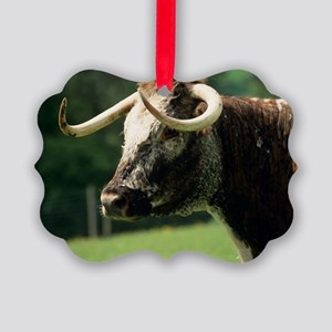 English longhorn cow Picture Ornament