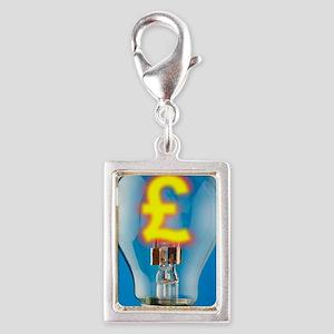 Energy costs, conceptual ima Silver Portrait Charm