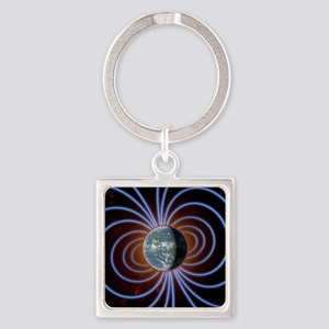 Earth's magnetic field Square Keychain