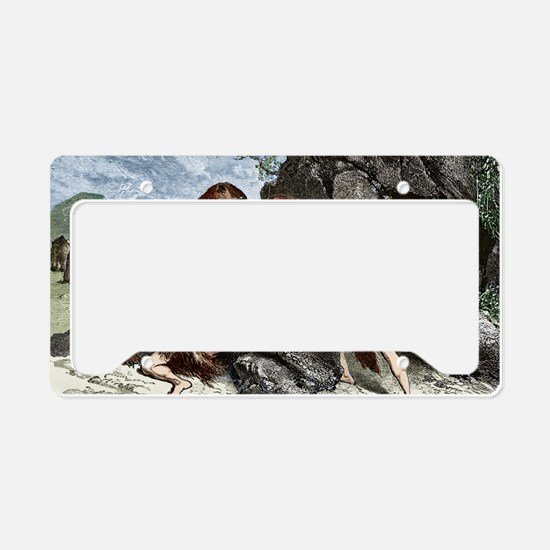 Early humans using weapons License Plate Holder