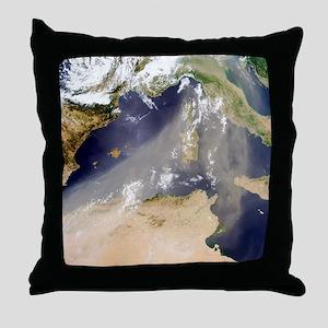 Dust plume crossing the Mediterranean Throw Pillow