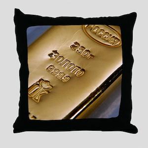 Gold bullion Throw Pillow