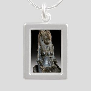 Goddess Sekhmet Silver Portrait Necklace