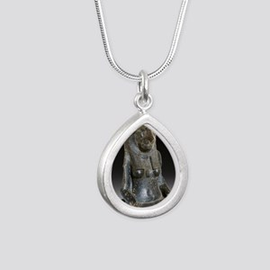 Goddess Sekhmet Silver Teardrop Necklace