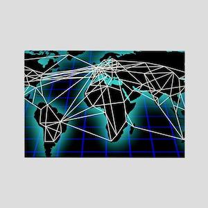 Global communications, artwork Rectangle Magnet