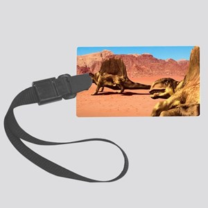 Dimetrodon pair, artwork Large Luggage Tag