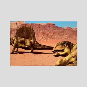 Dimetrodon pair, artwork Rectangle Magnet