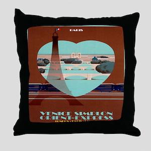 Paris Travel Poster Throw Pillow