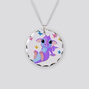 Cute Baby Dragon Necklace Circle Charm