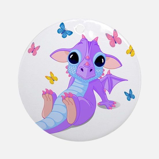 Cute Baby Dragon Round Ornament