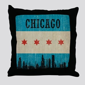 VintageChicagoSkyline Throw Pillow