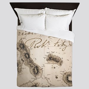 Galapagos Admiralty map by Fitzroy Bea Queen Duvet