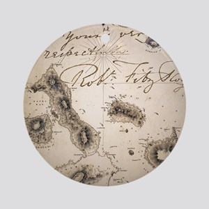 Galapagos Admiralty map by Fitzroy  Round Ornament