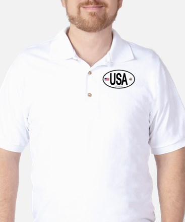USA Euro-style Country Code Golf Shirt